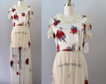 1930s Gown / Vintage 30s Tulle and Floral Dress / S