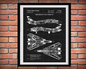 Patent 1999 F-14A Tomcat Bomber Plane Northrop Grumman Art Print - Wall Art - Poster - Aviation - Supersonic Military Fighter Plane