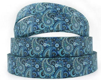 7/8 inch Blue Paisley Pattern Filigree - Printed Grosgrain Ribbon for Hair Bow DIY