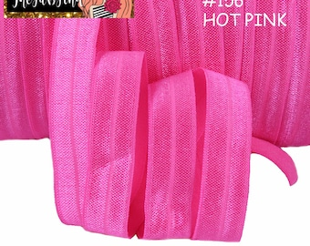 "5/8"" inch Hot Pink #156 FOE Fold Over Elastic - Solid Color - By the Yard- Shiny DIY For Headband"