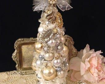 """Vintage Jewelry Bottle Brush Tree ~ White Flocked Tree, Silver & Gold, 12"""" Tall, Vintage Jewelry, Glass Beads, Tulle, Glitter, Wedding Tree"""