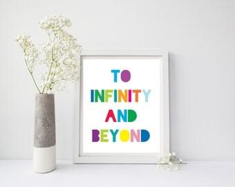 To Infinity And Beyond, Printable Art, Infinity Wall Print, Nursery Infinity Wall Art, Nursery Wall Art, Kids Wall Art, Colorful Wall Art