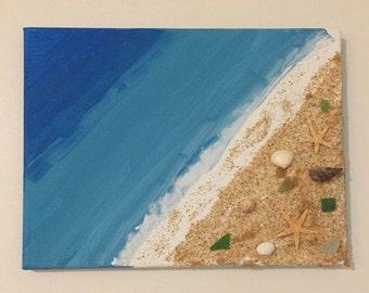 beach house decor, beach house, beach themed wedding, beach themed party, canvas, sea, ocean, sea glass, starfish, sand