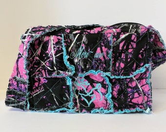 Muddy Girl camo purse, 12 wide x 8 tall x 4 deep, teal camo bag, Muddy girl teal camo bag, personalized camo bag, rag bag
