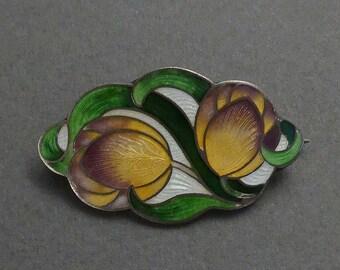 F & B Sterling Art Nouveau Cloisonne Brooch