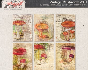 Woodland Mushrooms, Vintage Fungi, Instant Download, Digital Collage Sheet, Autumn Themed Printable ATC, Fall Scrapbook, Thanksgiving Decor