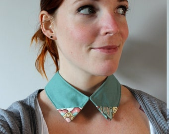 Handmade upcycled turquoise collar bib necklace with floral edges eco conscious one of a kind jewelry