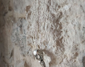"""Pewter Raven Skull Necklace Pendant and 30"""" Chain"""