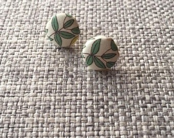 Sage Leaf - fabric button earrings