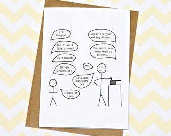 Biscuits Card - Funny Mum Card - Hurrah For Gin Cartoon - Mothers Day Card