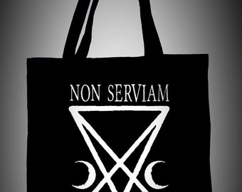 Black cotton tote bag NON SERVIAM,ecological white ink