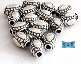 Sterling Silver Bali Oval Lentil Beads--1 Pc | 29-BW208-1