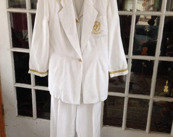 80's 3 piece white pantsuit with gold braid trim