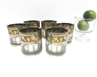 Green and gold grapes lowball glasses, set of 6 | retro Cera cocktail glasses | columns | 1970s | vintage barware | Italian | 22k gold