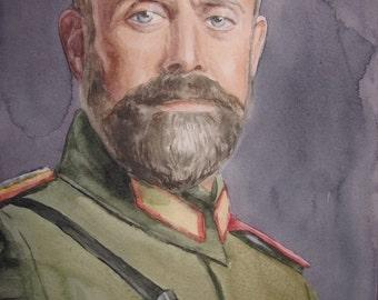 "Original watercolor portrait of the actor Halit Ergenç as Jovdat in Turkish TV series ""Vatanim Sensin"" 8 ""x12"""