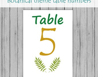 Botanical table names, teal and gold table numbers, printed table numbers, teal and gold table numbers, table names, wedding table cards.