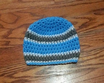0-3 Month Baby Boy Hat, Blue Gray White Striped Hat, Photo Prop, Knit Baby Hat, Baby Shower Gift, Blue Hat, Striped Baby Hat, Baby Boy Hat