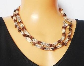 Knitted bracelet necklace, hand  knit jewellery, i-cord necklace,  boho bracelet, button fastening, coconut shell beads, lariat necklace