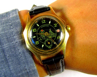 Pobeda AU mens wrist watch Very rare model  Gold Plated 17 Jewels USSR RARE Serviced by master