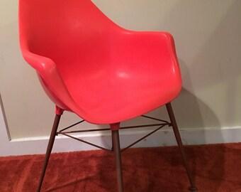 Sam Avedon, Alladin Plastic, Orange Molded Arm Chair, Mid Century Modern Chair, Desk Chair, Plastic Shell Chair, Mid Century Bucket Chair