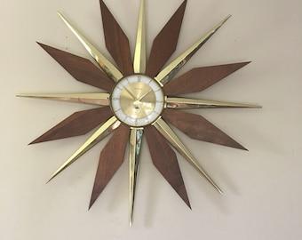 Mid Century Modern Atomic Starburst Clock, Vintage Starburst Wall Clock, Supreme Star Clock, Wood and Gold Tone Metal, Wind Up Wall Clock