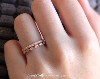 Two Milgrain Eternity Set Ring-1.02 ct.tw Brilliant Cut Pave Set-Art Deco Stackable Ring-Rose Gold Plated-Sterling Silver [65360MRGE-2]