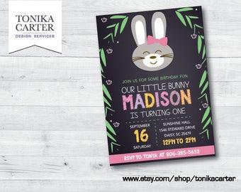 Bunny Chalkboard Birthday Party Invitation (girl)