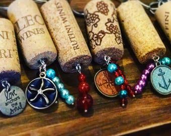 Wine Cork Key Chain, Custom Wine Cork, Wine Lover Gift, Keychain Gift Idea, Custom Key Chain, His and Hers Wine, Wine Cork Craft, Wine Lover