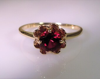 1930s, 10K Gold Ring, Ruby Buttercup Ring, Ruby Ring, Ruby Flower Ring, Solitaire Ring, Buttercup Ring, Vintage Ring, Red Ring, Size – 5.75