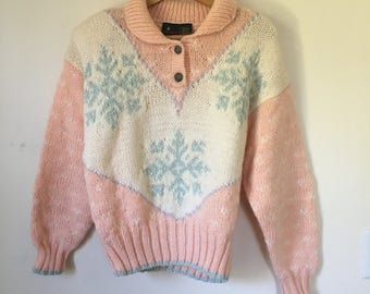 Vintage 80's Liz Sport Pink Snowflake Ski Sweater Small New With Tags
