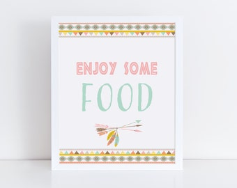 Tribal Food Sign Printable, Baby Shower Food Table Sign, Tribal Baby Shower Sign, Tribal Baby Shower Decor, Instant Download