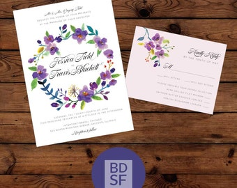 Printable Wedding Invitations // Spring Floral Design // Chose Wording and Colors // DIY Printable Wedding Invites // Fully Customizable