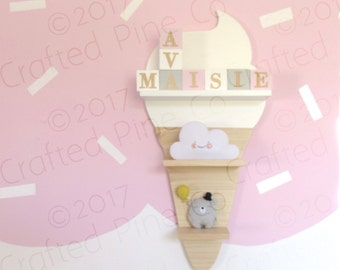 ice cream cone shelf - wooden ice cream shelf - kids decorative shelf