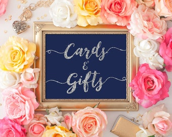 Wedding Cards & Gifts Sign 8x10 5x7 Silver Glitter Navy Blue Calligraphy Sign DIY Wedding Printable Image Digital INSTANT DOWNLOAD 300dpi