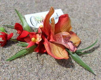 Pinup hair clip, Pinup flower, Tiki flowers, Tiki hair clip, Bibi, Rockabilly flowers, Pinup hair flower, Hawaiian fascinator, Oceanfront
