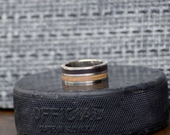 Mens Wedding Band: Hockey Ring - Metal Channel Ring Hockey Puck Rubber and Hockey Stick Wood Inlays. Stag Hound, Elk Head Design