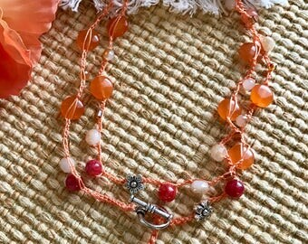 "Coral Peony 43"" Crocheted Wrap Necklace"