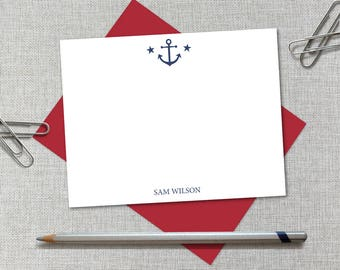 Personalized Stationery / Men's Personalized Stationary Set / Custom Monogram Note Card / Nautical Thank You Notes / Anchor Thank You Notes