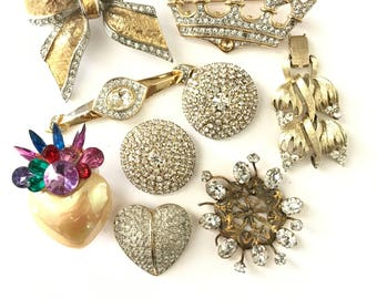 Vintage Rhinestone Destash Jewelry Lot Assemblage Repurpose Lot