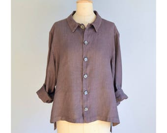 1990s hand dyed A-line linen blouse  / size small-medium / a line 90s minimal /