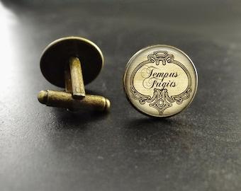 Tempus Fugit Quote Cufflinks Time Flies Cufflinks Tempus Fugit Bronze Cufflinks Latin Quote Cufflinks Time Goes By Cufflinks Time Flies Suit