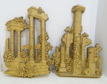 Vintage Pr Homco Home Interiors Syroco Grecian Greek Gold Statues Wall Hanging 1972 #7265 7266 Large Gorgeous