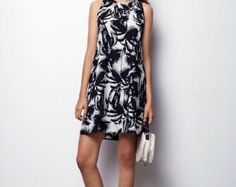 Black and White  tank Dress, Sleeveless Dress, Summer Dress with pockets - Mery