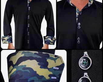 Black Camo Moisture Wicking Dress Shirt - Made in USA