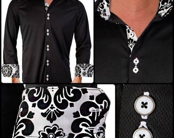 Black with White Damask Moisture Wicking Dress Shirt - Made in USA