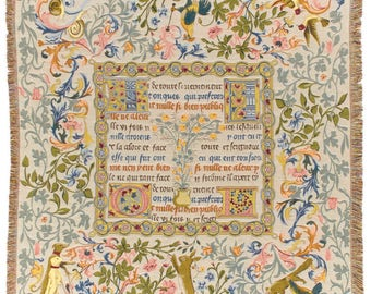 Tapestry Throw Blanket Fairy Tales Medieval Scripture Belgian Tapestry Blanket Throw 56x56 - TT-741