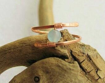 Midi Rings, Copper Midi Rings, Copper Rings, Wire Wrapped Midi Rings, Knuckle Rings, Boho Rings, Pinky Rings, Gemstone Copper Midi Rings