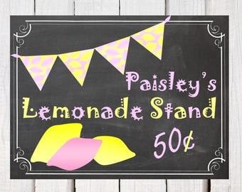 Lemonade Stand sign a vintage lemonade sign on a distressed chalkboard background. Chalkboard lemonade signage perfect for a summer party.