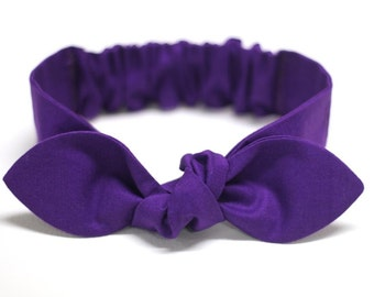 "Baby headband, purple headband, newborn headband, infant headband - ""Raine"" solid plain cotton purple, baby girl"