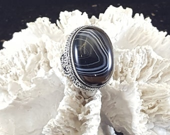 Banded Agate Statement Ring ~ Size 6.5